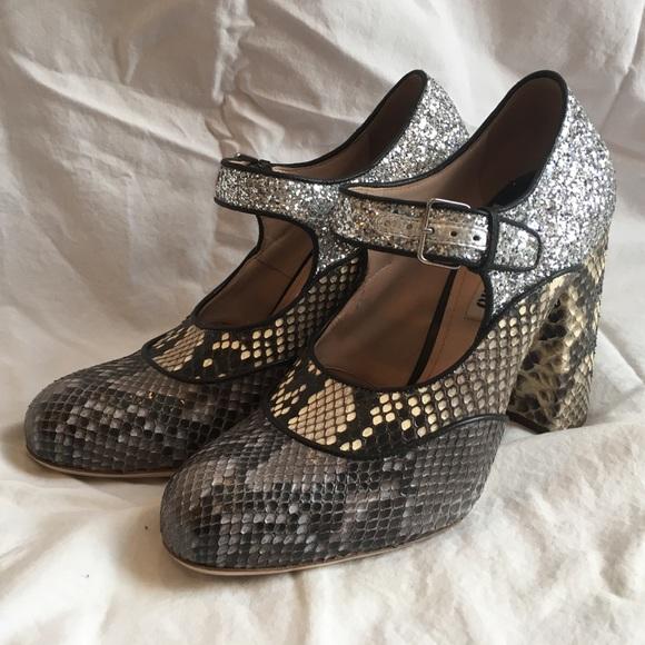 5dc4beb9c20 Miu Miu Mary Jane Pumps - Glitter and Snake Skin